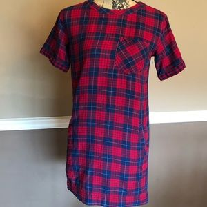 Madewell Red And Blue plaid dress XXS